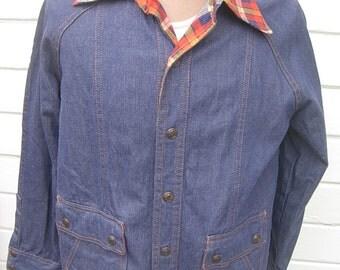 Very Cool Early 1960s Deadstock Unworn  Vintage Denim Jacket -- Size Large