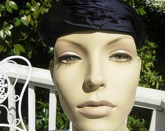 Gorgeous Satin Dark Blue Rayon Hat
