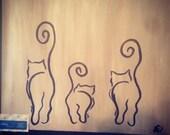 Abstract kitties acrylic painting on canvas