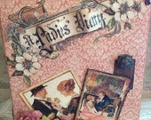 Graphic 45 Victorian Mini Journal with Handmade Flowers on Cover