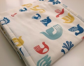 Burp Cloths - Modern Baby Burp Cloths - Birds Burp Cloths - Organic Burp Cloths - Set of 2 Burp Cloths - New Baby Gift - Baby Shower Gift