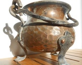 Mini copper and iron cauldron, witches cauldron, handmade vintage French home decor.