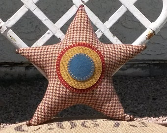 Patriotic 4th of July hand sewn stuffed hanging wool star