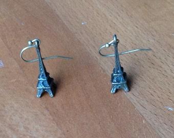 Antique brass eiffel tower earrings