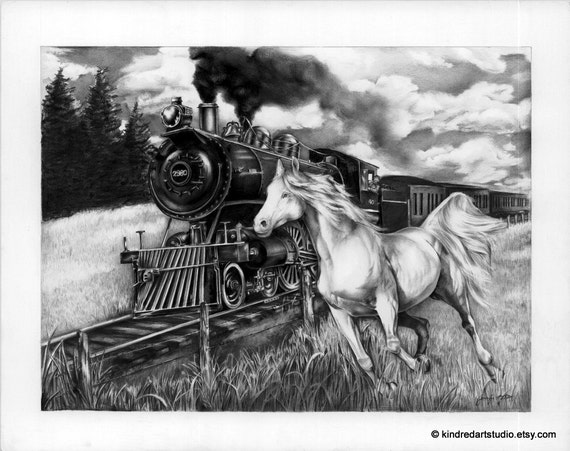 Galant Horse and Train Scene Art Print from Original Pencil Drawing