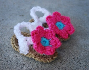 Crochet Baby Flower Flip Flop Sandals in Hot Pink and Turquoise/Baby Shower Gift/Photography Prop