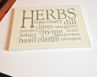 "Herbs 10""x14"" wall canvas"