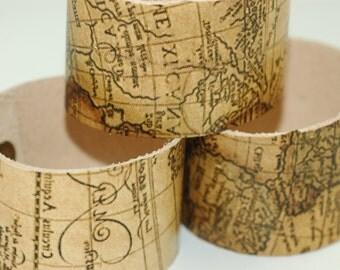 Wholesale 1.50 Inch Wide Genuine Leather Old World Map Cuff - Cuff Wristband - Three Cuff- Blank