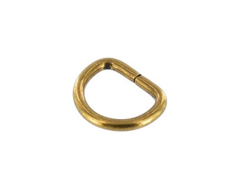 "B1599 7/8"" Antique Brass, Wired Formed D-Ring, Solid Brass-LL"