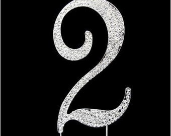 "Number ""2"" Rhinestone Cake Topper"
