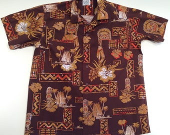 1950's 60's Hawaiian Aloha TIKI Cotton Shirt