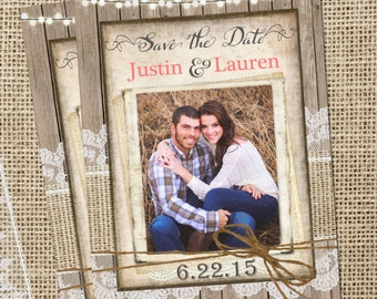 Rustic, Burlap and Lace Save the Date, Lights, Wood Fence, Photos, Digital File, Printable, 5x7