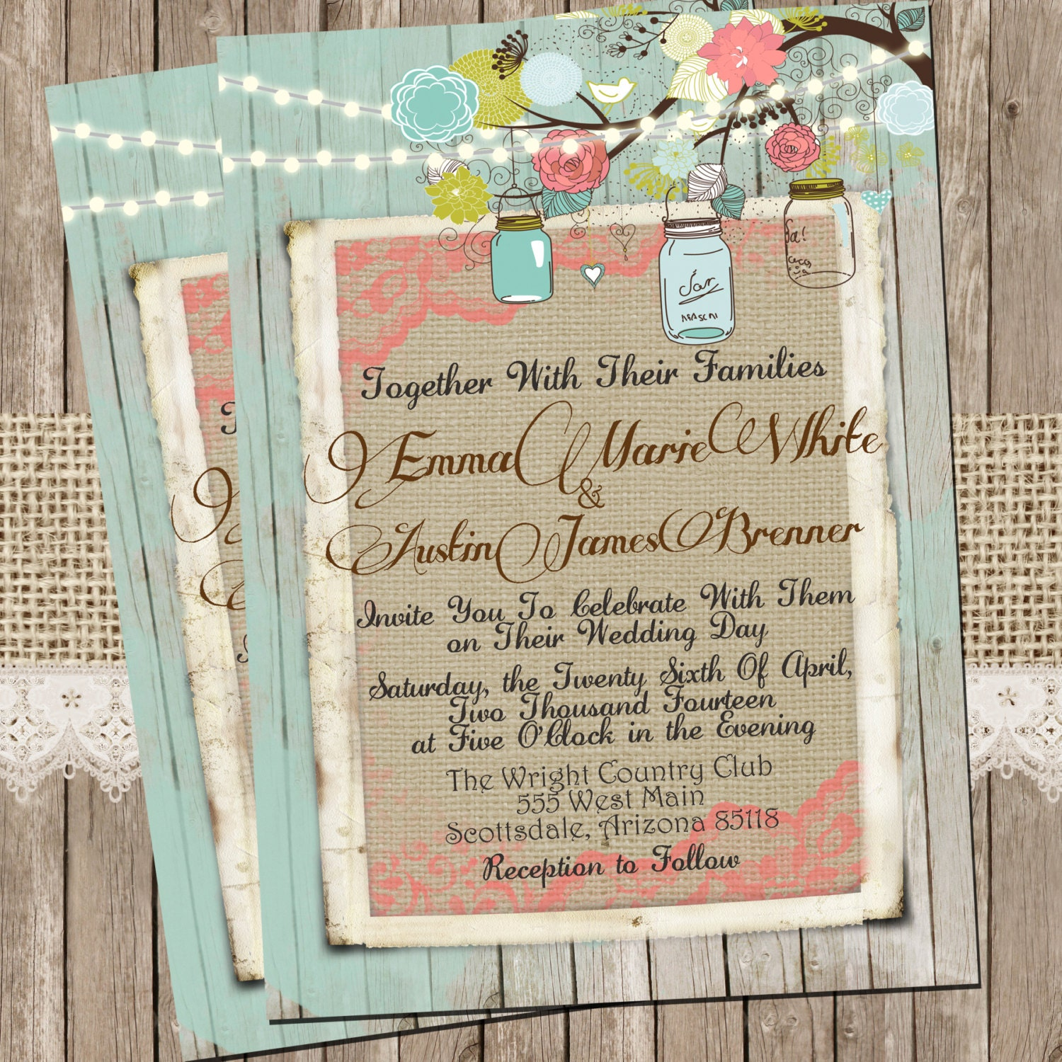 Coral Wedding Invitations: Mint And Coral Burlap And Lace Wedding Invitation Rustic