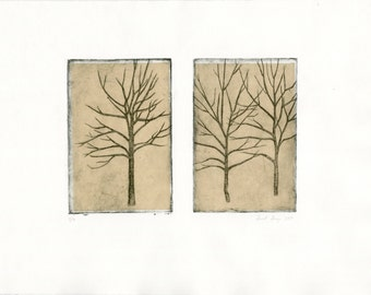 Three Trees etching with chine colle