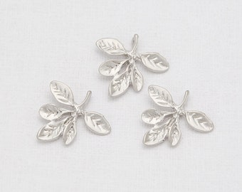 Leaf Pendant Matte Rhodium-Plated - 2 Pieces <GG0032-MR>