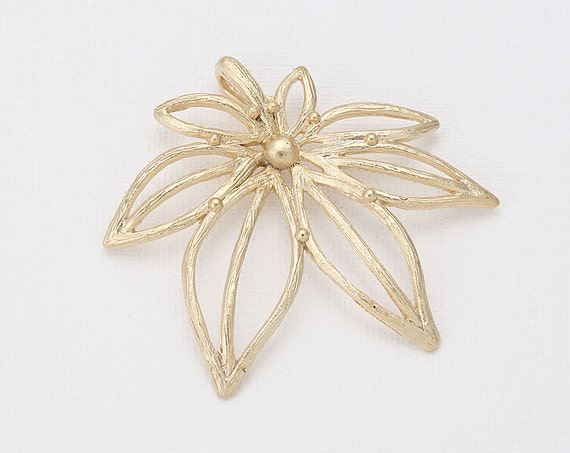 maple leaf pendant matte gold plated 2 pieces
