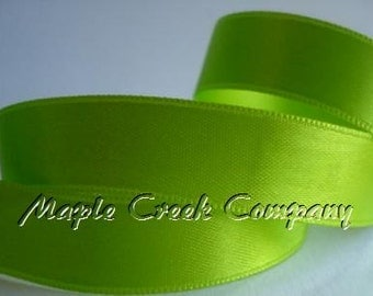 """Apple Green Double Face Satin Ribbon, 5 Widths Available: 1-1/2"""", 7/8"""", 5/8"""", 3/8"""", 1/4"""""""