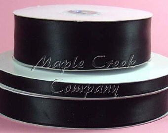 3/8 inch x 100 yards of Black Double Face Satin Ribbon