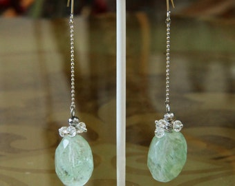 Light Green Barrel-Shaped Gemstone Dangles