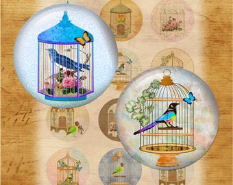 Birdcages - Two Inch Round Digital Collage Sheet