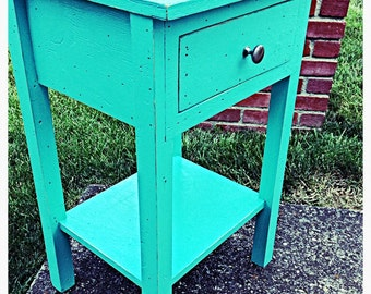 Handmade distressed night stand/side table with drawer