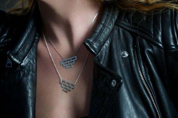 Brick Pattern Pendant Necklace