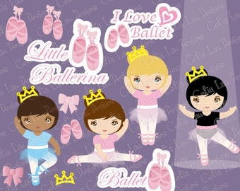 Ballet Digital Clipart , Ballet clipart, Ballerina clipart  (CG71) / tutu clipart , Personal and Commercial Use / INSTANT DOWNLOAD