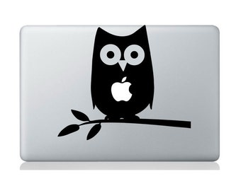 Laptop decal – Laptop Sticker – Macbook Pro decal – Macbook Air decal – Car window – Hipster - Cute owl on branch
