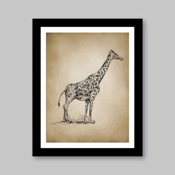 vintage giraffe safari single print home decor nursery