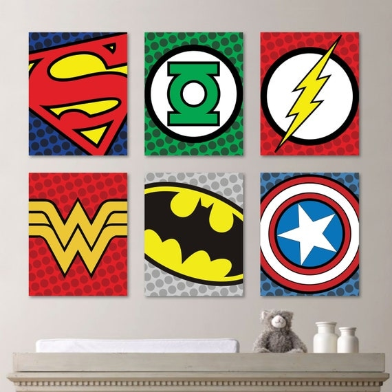 set superhero wall art nursery boy superman flash green lantern