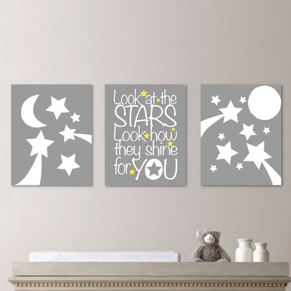 baby nursery art stars moon nursery decor by rhondavousdesigns2. Black Bedroom Furniture Sets. Home Design Ideas