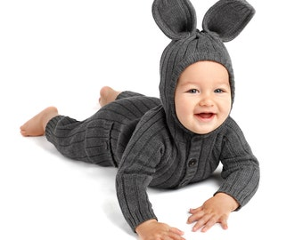 BUNNY Animal Suit for Baby and Toddler - Handmade Woven Cotton Gray Rabbit Romper - Kid's Birthday Gift - Blamo Adventurewear - Cute outfit