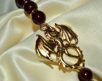 Mens Blood Red Dragon Bracelet