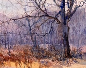 "Late November Light - WATERCOLOR PAINTING by Linda Henry - Miniature Watercolor - 5""x7"" - Ready to Frame - Free White Mat (#214)"