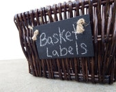Set of 3 Handmade Chalkboard Basket Labels w/ Jute - Reusable Chalkboard Tags-Basket Tags-Garden Markers-Place Settings