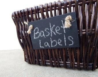 Set of 5 Handmade Chalkboard Basket Labels w/ Jute - Reusable Chalkboard Tags-Basket Tags-Garden Markers-Place Settings