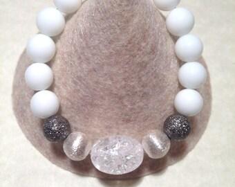 Genuine  Onyx & Crystal Quartz stretch bracelet