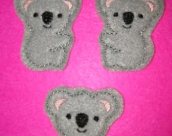 Set of 4 Koala Bear Head Face Full Body Felties Feltie Felt Embellishment Bow!