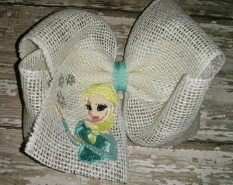 Girl Girls Toddler Baby Embroidered Frozen Queen Elsa Burlap Bow Boutique! Hair Accessory! Birthday Party Hairbow Bow