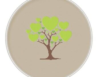Сross stitch pattern PDF / JPEG Instant Download, Cross stitch PDF - Love tree