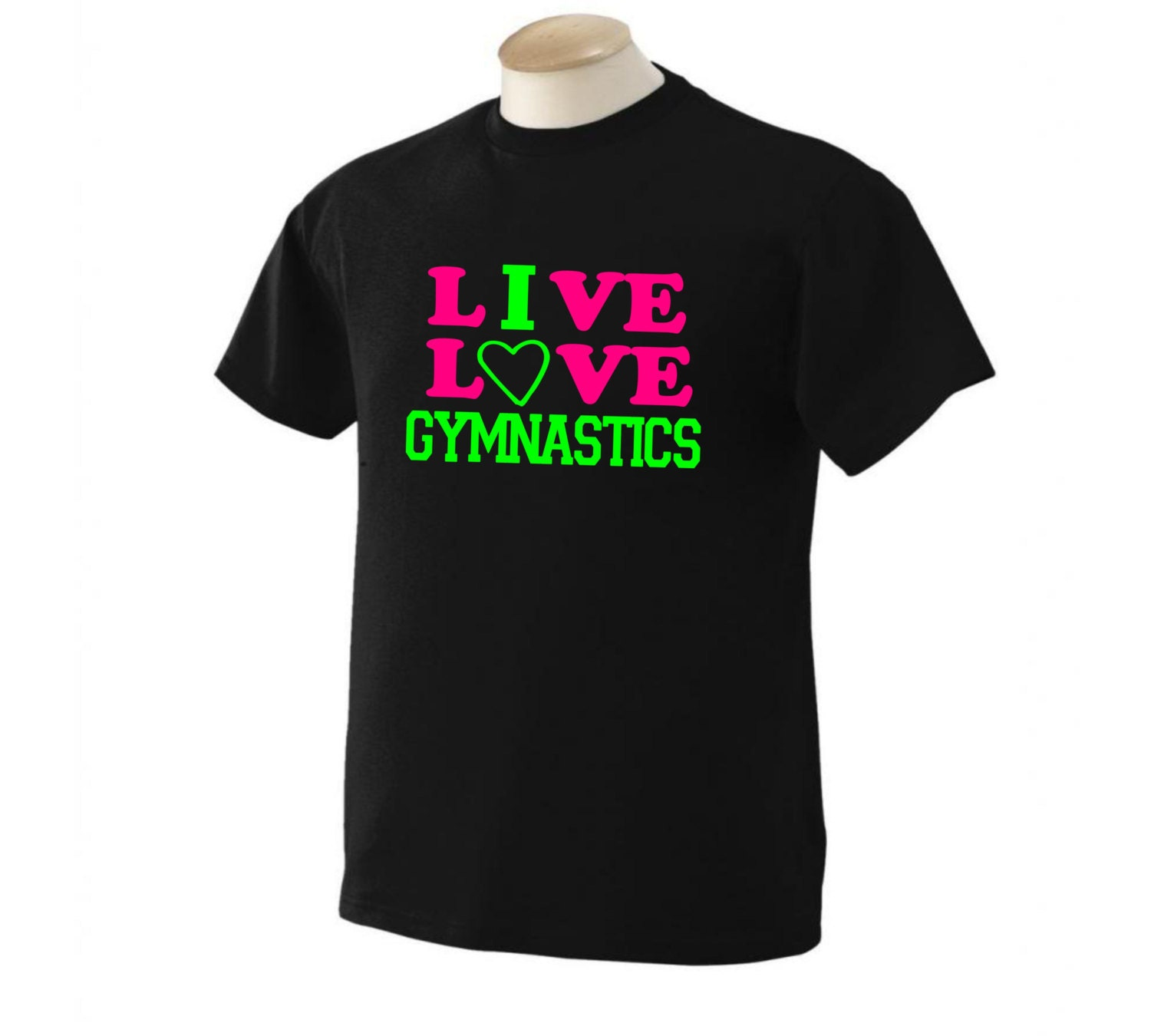Live love gymnastics t shirt neon design sports shirt by Gymnastics t shirt designs