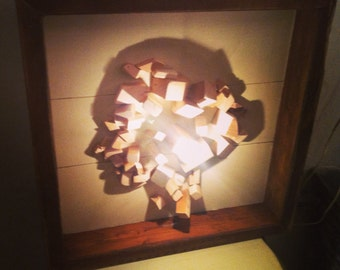 Silhouette Shadow Art.woman's face,reclaimed wood art,wooden shadow sculpture,reclaimed wood art.Wall hanging art,sconces wood art,wood lamp