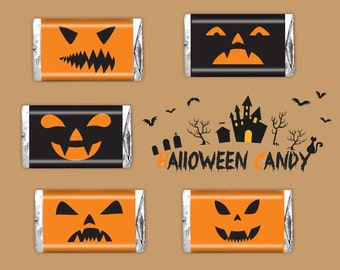 Halloween Pumpkin Mini Candy Bar Wrappers Printable - Instant Download