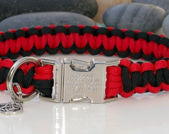 Red and Black Paracord Dog Collar with FREE Engraving