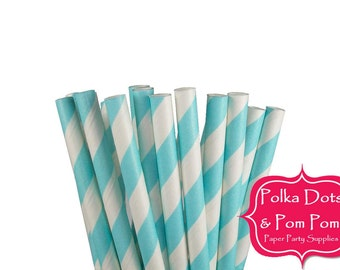 25 PASTEL BLUE / Baby Blue / Striped Paper Drinking Straws / Birthday Party Decoration Ideas and Supplies / Wedding / Baby Shower / BBQ