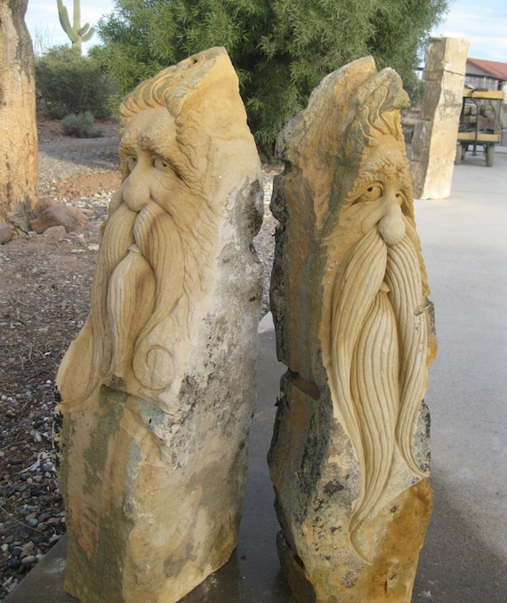 Carved Stone Fence : Items similar to hand carved stone sculptures from