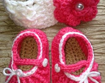 Crochet Headband and MaryJane Slippers