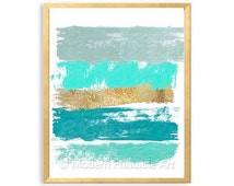 Mint Gold Turquoise Abstract PRINTABLE Wal Art, Teal Green, Faux Gold Foil, Mint Green, Turquoise Abstract Brushstroke Art
