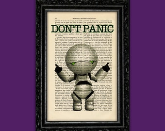 Marvin the Paranoid Android Don't Panic Art Print Book Art Poster Dorm Room Print Gift Print Wall Decor Poster Dictionary Art Print