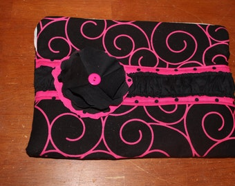Black and pink swirls zippered/padded ipad generation 1,2,3,4 sleeve